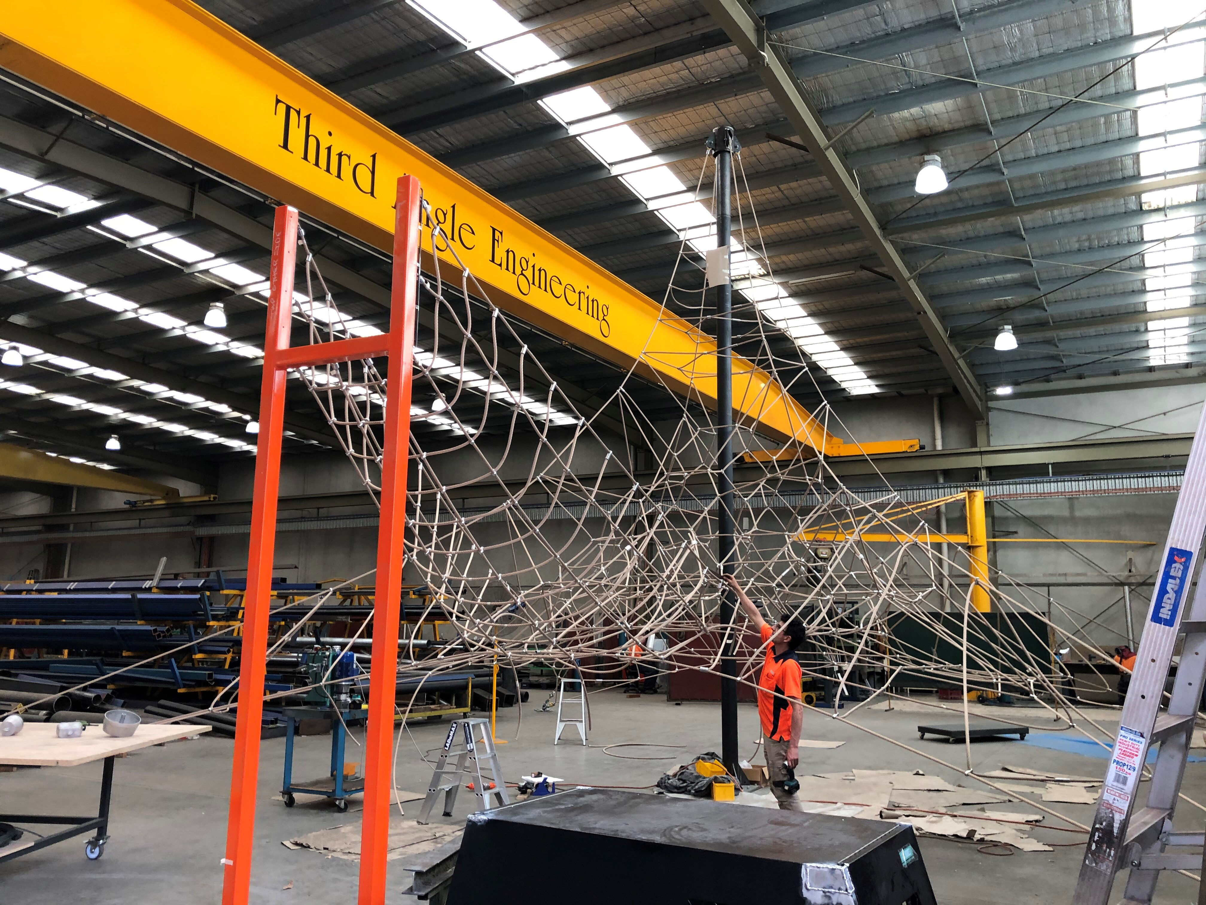 Rope Pyramid in the factory