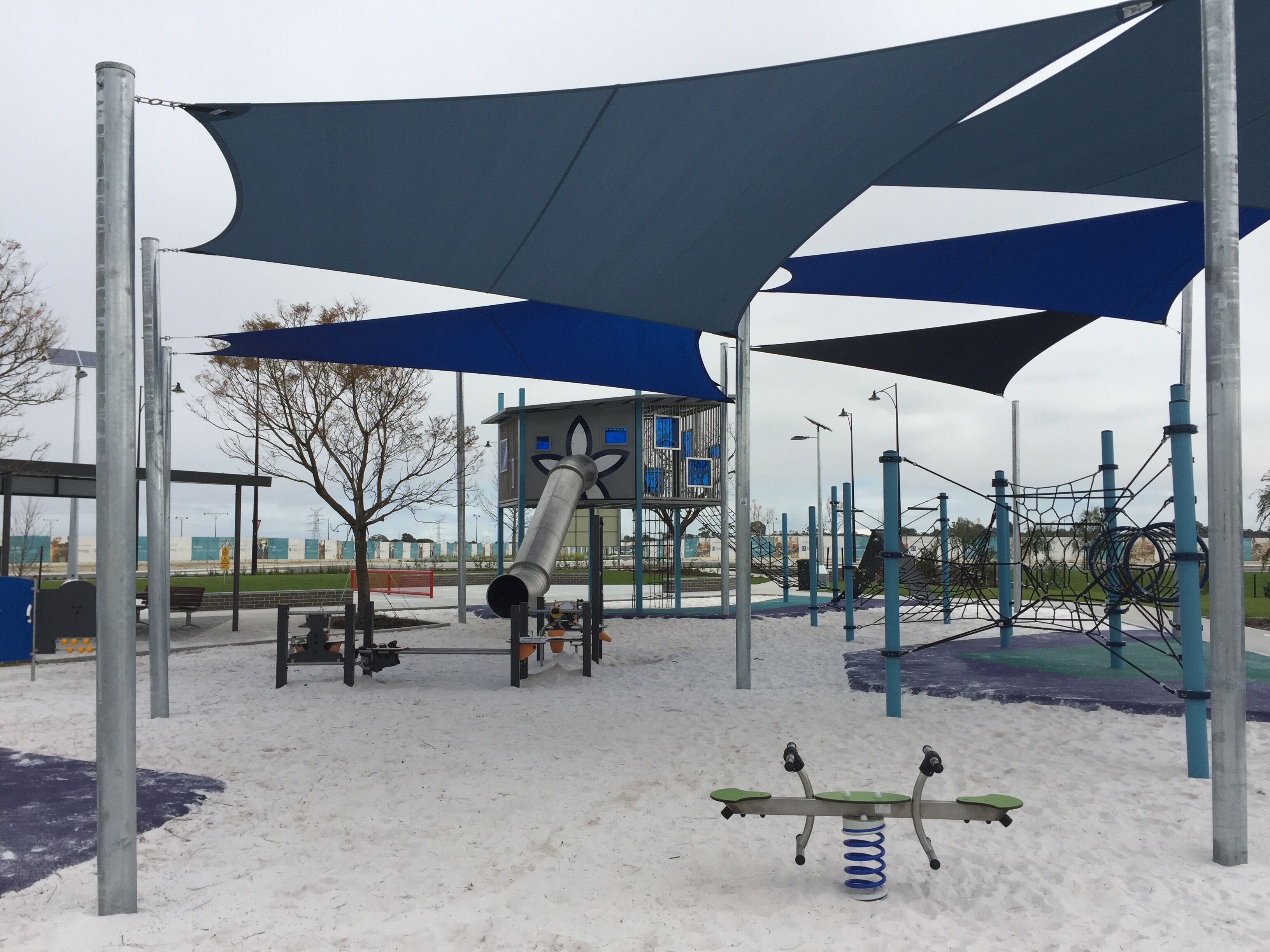 Playground with Stainless Steel Slide, Structure and Rope Climbing