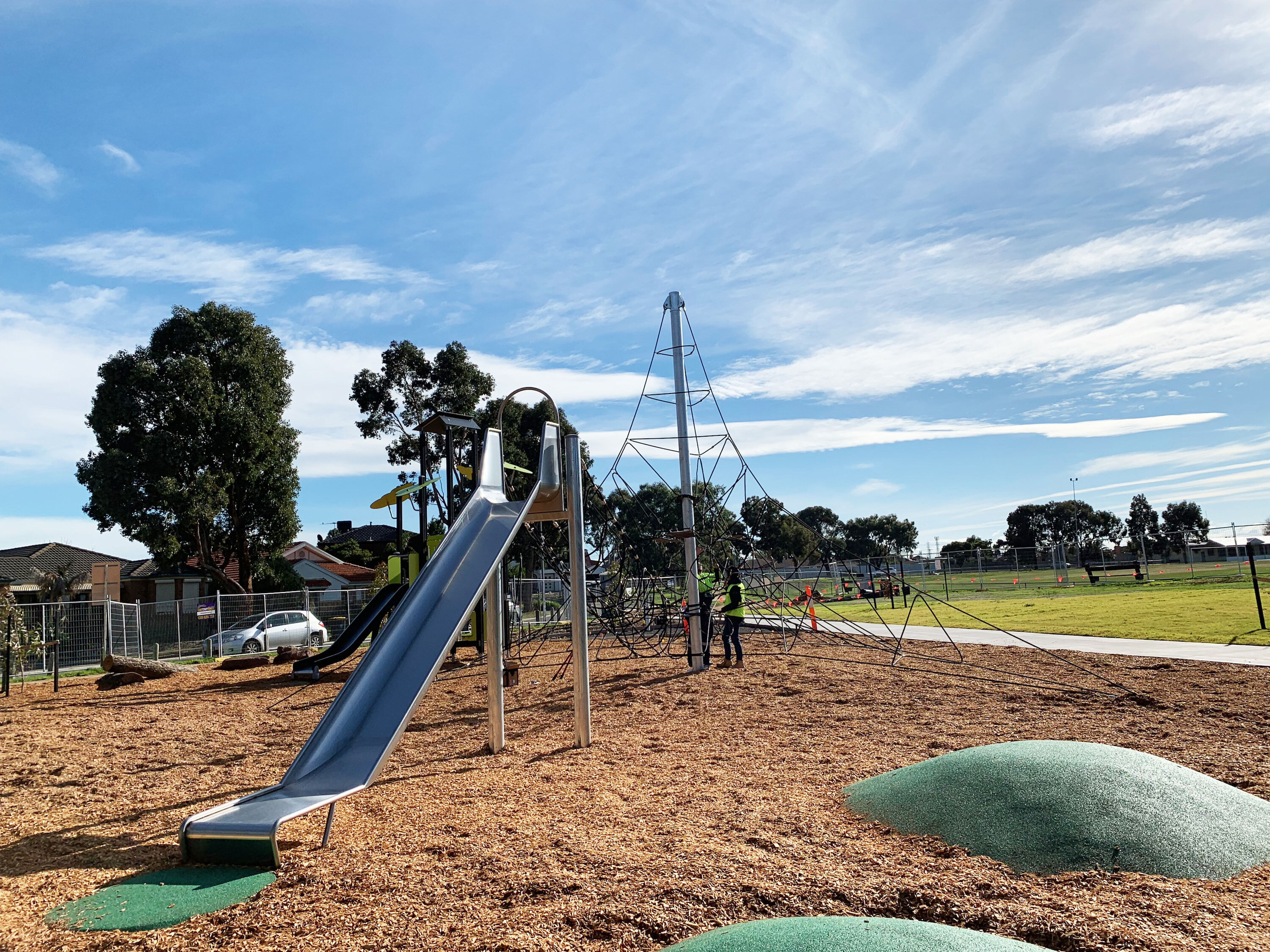 Playground with Rope tower and stainless steel slide