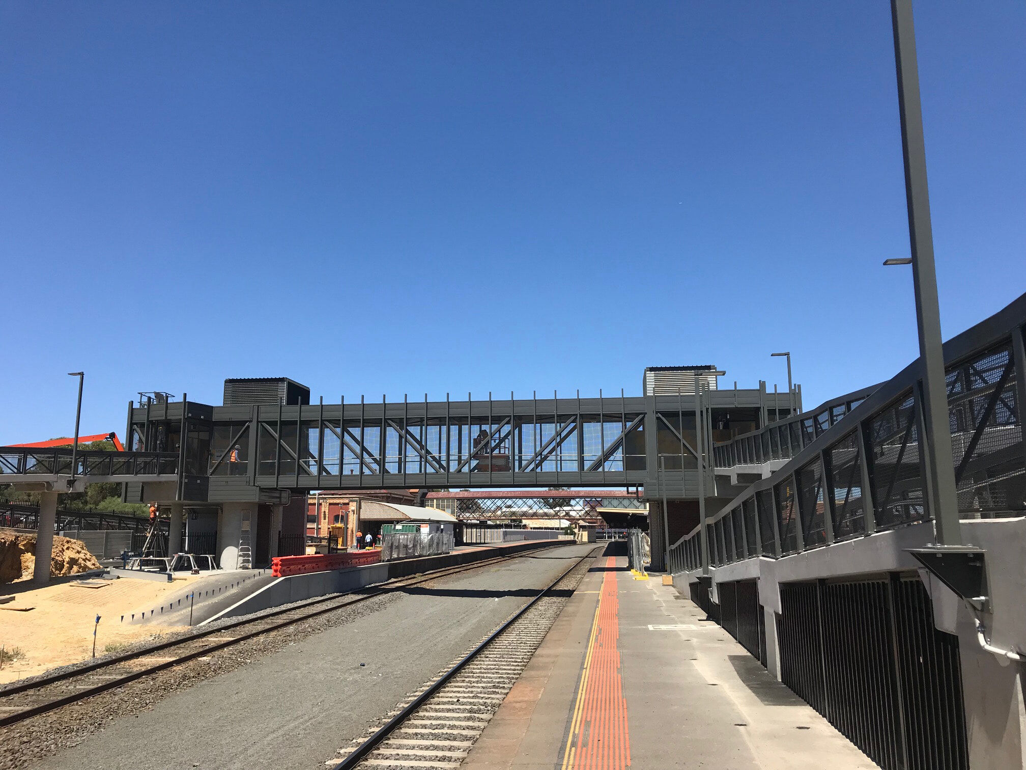 Railway Crossover bridge and lifts and ramp