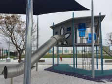 Stainless Steel Playground with Slide, Structure and Rope Climbing